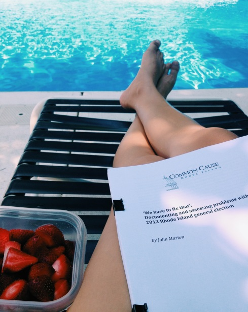 No A/C + heat wave = research by the pool