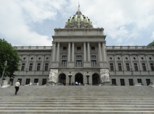 Front view of the Harrisburg Capitol Building.