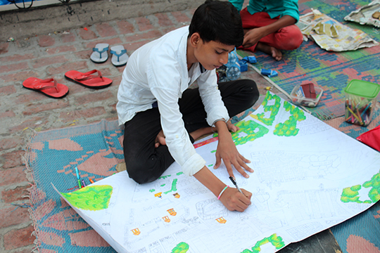 ongoing work on the community map of Zamrudpur