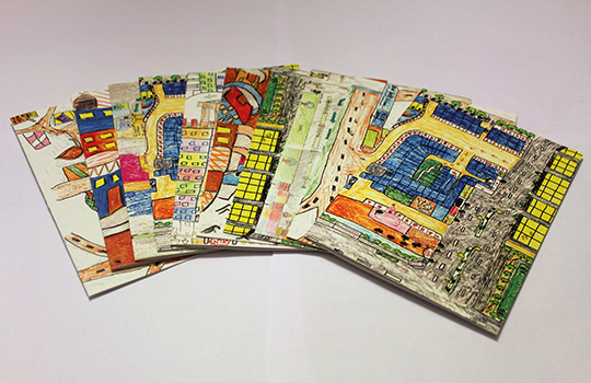 Cards of the children's direction maps to their homes