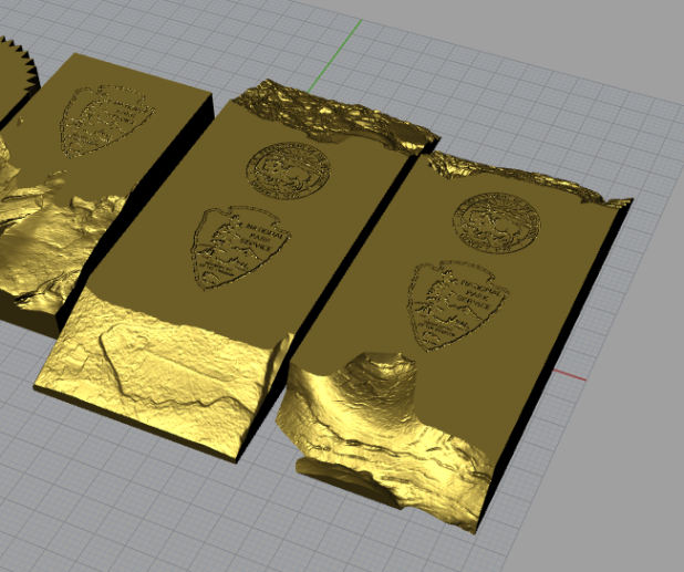 Placard tests, rendered in bronze, ready for printing
